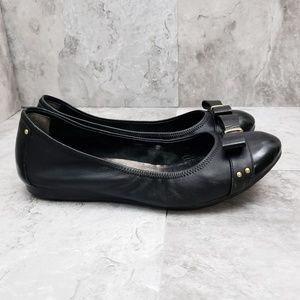 Cole Haan Elsie Bow Black Leather Ballet Flats